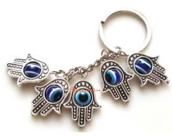 Five Hamsa Blue Evil Eyes Bead Keychain
