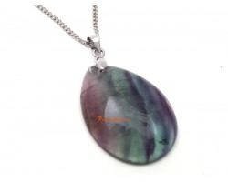 Violet and Green Fluorite Crystal Pendant