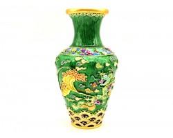 Frolicking Green Dragon Vase
