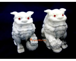 Pair of White Feng Shui Fu Dogs