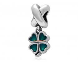 Genuine 925 Silver Enameled Four Leaf Clover Pendant Bead Charm