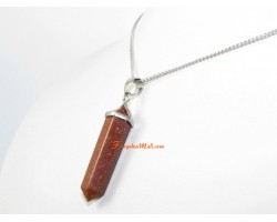 Gold Sand Double Terminated Point Pendant (L)