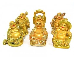 Golden Six Mini Laughing Buddhas