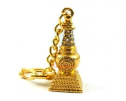 Golden Bejeweled Stupa Keychain