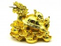 Golden Dragon Tortoise with Child on Bed of Coins