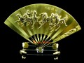 Golden Fan with Eight Running Horses