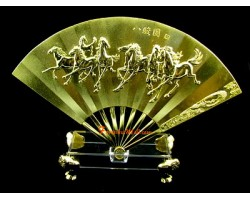 Golden Fan with Eight Running Horses
