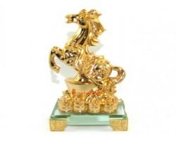 Golden Feng Shui Horse with Gold Ingot