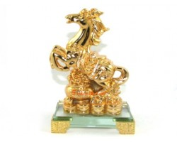 Golden Feng Shui Horse with Wealth Pot