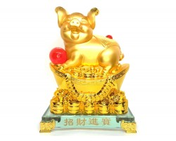 Golden Good Fortune Boar with Giant Gold Ingot (L)