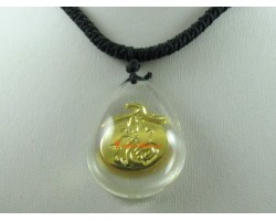 Golden Good Fortune Peach Pendant with Adjustable Necklace