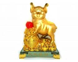 Golden Good Fortune Pig with Wealth Bag (L)