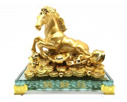 Golden Horse Resting on a Bed of Treasure