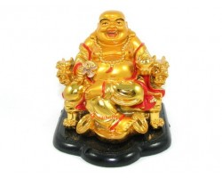 Golden Laughing Buddha on Chair