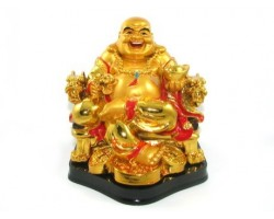 Golden Laughing Buddha on Chair (L)