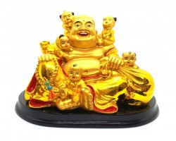 Golden Laughing Buddha with Five Children