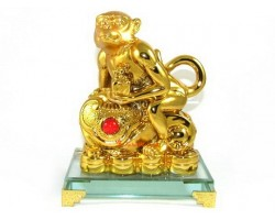 Golden Monkey with Ru Yi and Seal for Promotion and Authority Luck