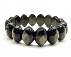 Golden Obsidian Olive Shaped Bangle Bracelet