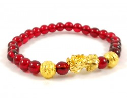 Golden Piyao Bracelet with Red Beads Bracelet