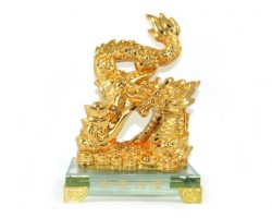 Exquisite Golden Good Fortune Dragon Spewing Sheng Chi