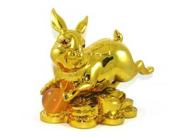 Golden Good Fortune Rabbit with Red Ball