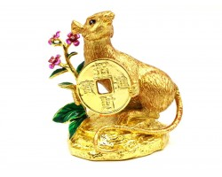 Golden Rat Holding Coin With Your Wealth Has Arrived