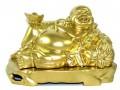 Golden Reclining Laughing Buddha