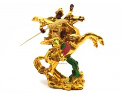 Golden Red-Faced Kwan Kung on Victory Horse