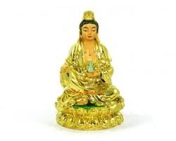 Golden Guan Yin Seated on Lotus