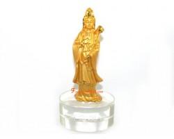 Golden Standing Guan Yin on Glass Base