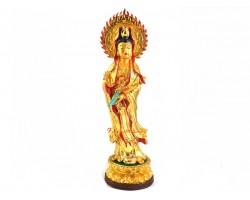 Gold Plated Standing Guan Yin Statue
