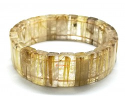Golden Titanium Rutilated Quartz Bangle Bracelet (Top Grade)