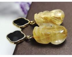 Golden Titanium Rutilated Quartz Pi Yao Earrings