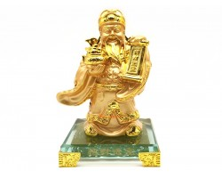 Golden Wealth God with Wealth Pot and Scroll
