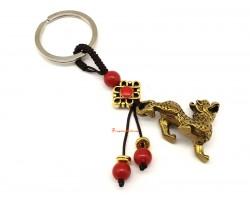Good Fortune Brass Feng Shui Pi Yao Keychain