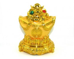 Good Fortune Golden Ingot with Treasure for Prosperity