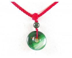 Green Agate Coin Ping Aun Kou Pendant Necklace