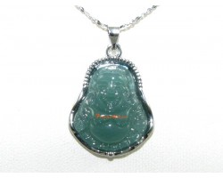 Green Laughing Buddha Pendant