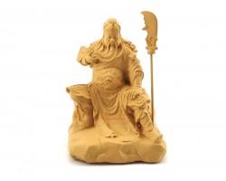 Guan Gong Sitting on Stone Figurine