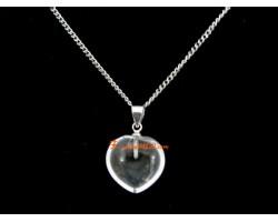 Clear Quartz Heart Shape Love Charm Pendant