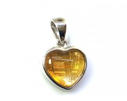 Heart Shape Gold Meteorite Pendant with 925 Silver Frame