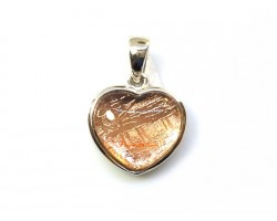 Heart Shape Rose Gold Meteorite Pendant with 925 Silver Frame