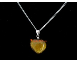 Tigers Eye Heart Shape Love Charm Pendant