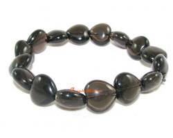 Hearts Crystal Bracelet - Smoky Quartz