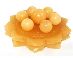 Yellow Jasper Crystal Balls on Star of David Lotus