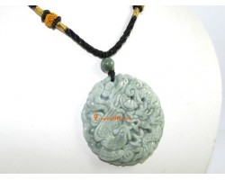 High Grade Dragon and Phoenix Jade Pendant Necklace
