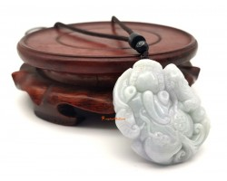 High Grade Jade Piyao with Child and Ling Zhi Pendant