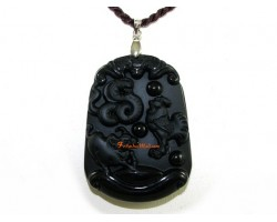 High Quality Horoscope Allies Obsidian Pendant - Ox, Rooster and Snake