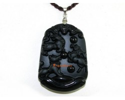 High Quality Horoscope Allies Obsidian Pendant - Tiger, Dog and Horse