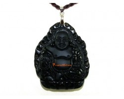 High Quality  Laughing Buddha Obsidian Pendant